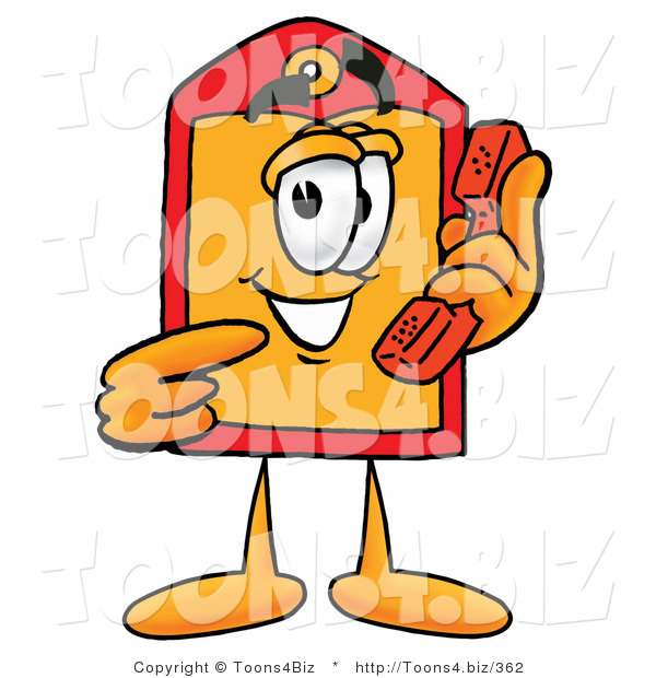 Illustration of a Cartoon Price Tag Mascot Holding a Telephone