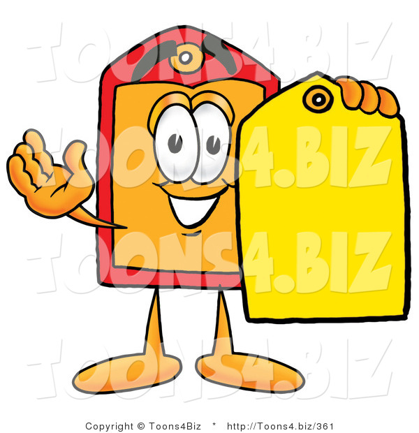 Illustration of a Cartoon Price Tag Mascot Holding a Yellow Sales Price Tag