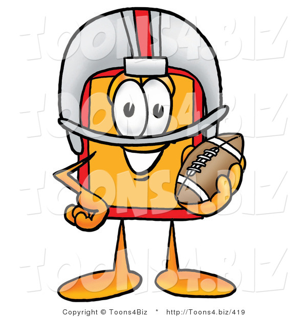 Illustration of a Cartoon Price Tag Mascot in a Helmet, Holding a Football