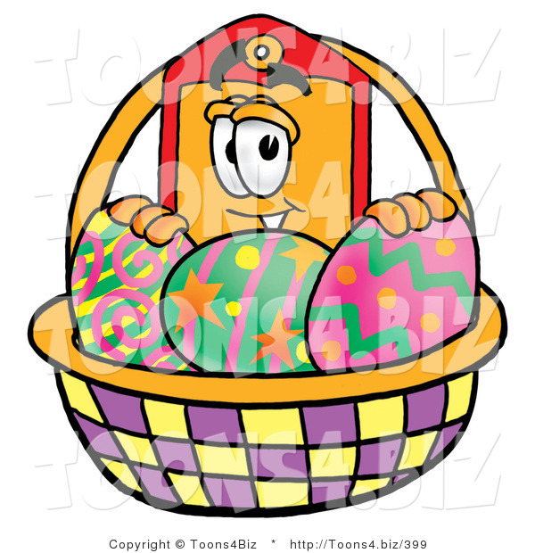 Illustration of a Cartoon Price Tag Mascot in an Easter Basket Full of Decorated Easter Eggs