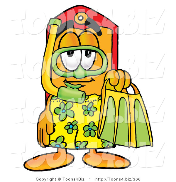 Illustration of a Cartoon Price Tag Mascot in Green and Yellow Snorkel Gear