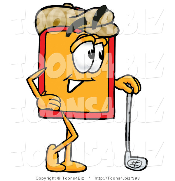 Illustration of a Cartoon Price Tag Mascot Leaning on a Golf Club While Golfing