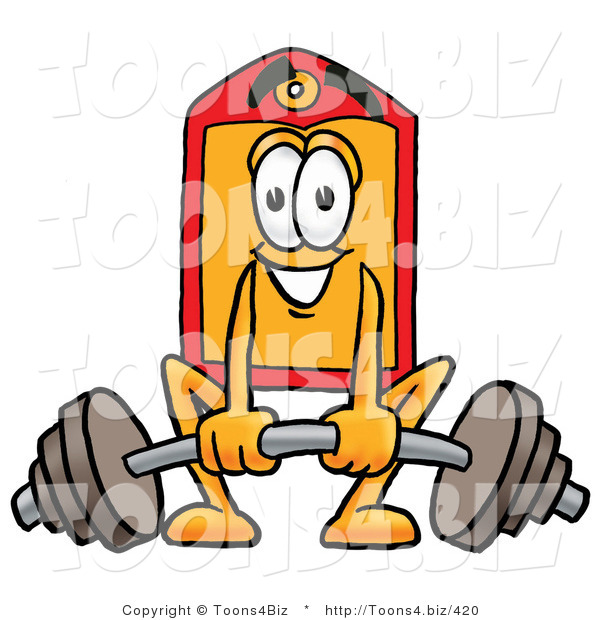 Illustration of a Cartoon Price Tag Mascot Lifting a Heavy Barbell