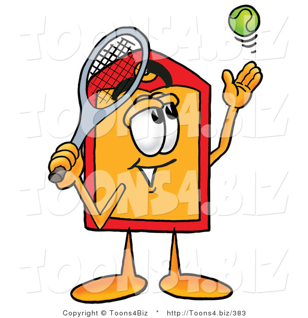 Illustration of a Cartoon Price Tag Mascot Preparing to Hit a Tennis Ball