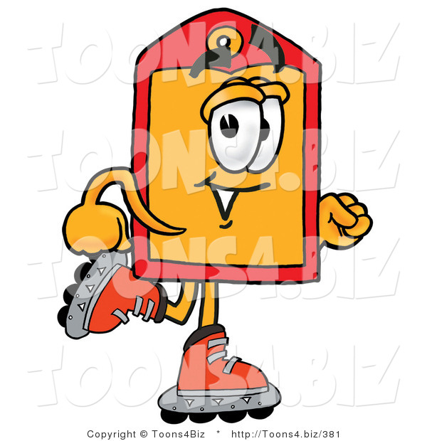 Illustration of a Cartoon Price Tag Mascot Roller Blading on Inline Skates