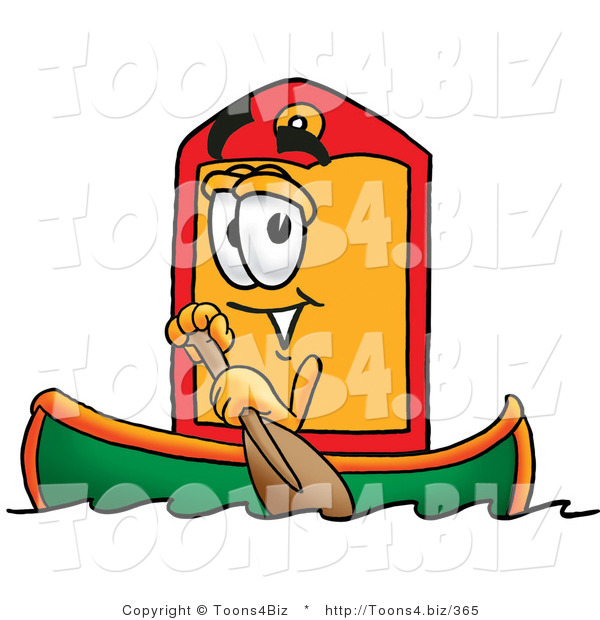 Illustration of a Cartoon Price Tag Mascot Rowing a Boat