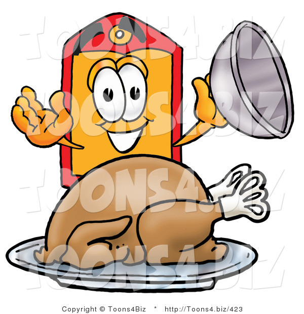 Illustration of a Cartoon Price Tag Mascot Serving a Thanksgiving Turkey on a Platter