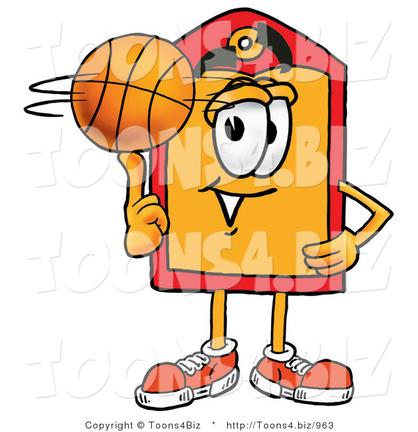 Illustration of a Cartoon Price Tag Mascot Spinning a Basketball on His Finger