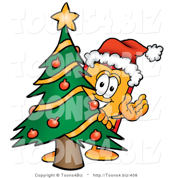 Illustration of a Cartoon Price Tag Mascot Waving and Standing by a Decorated Christmas Tree