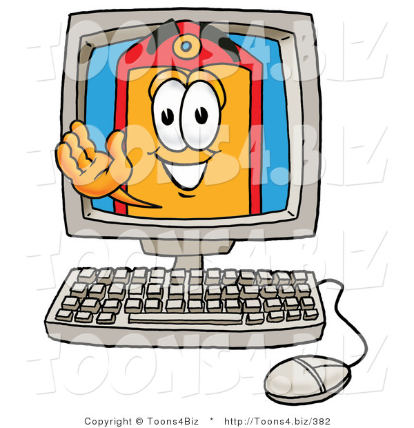 Illustration of a Cartoon Price Tag Mascot Waving from Inside a Computer Screen