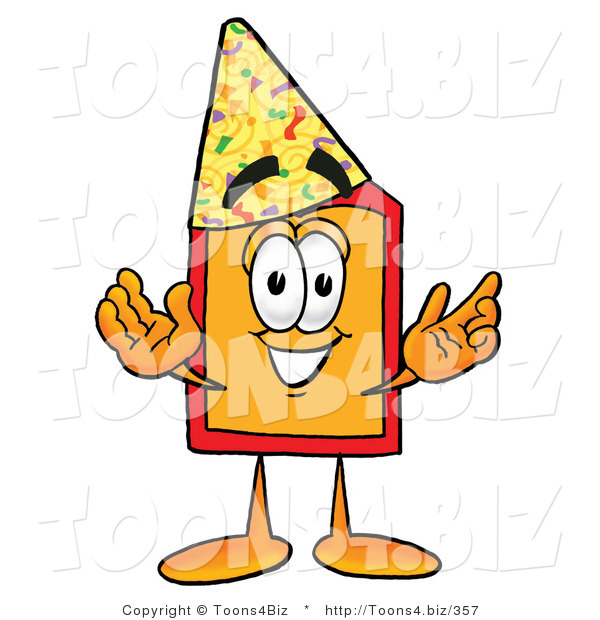 Illustration of a Cartoon Price Tag Mascot Wearing a Birthday Party Hat