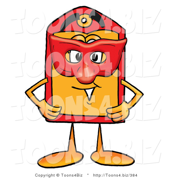 Illustration of a Cartoon Price Tag Mascot Wearing a Red Mask over His Face