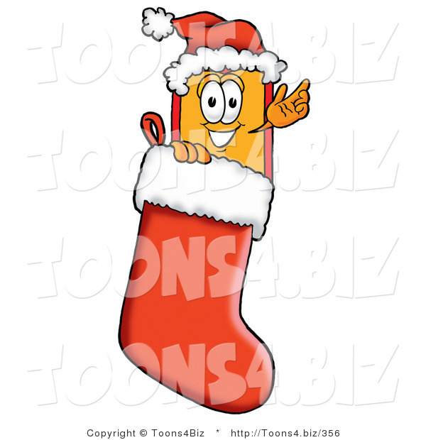 Illustration of a Cartoon Price Tag Mascot Wearing a Santa Hat Inside a Red Christmas Stocking