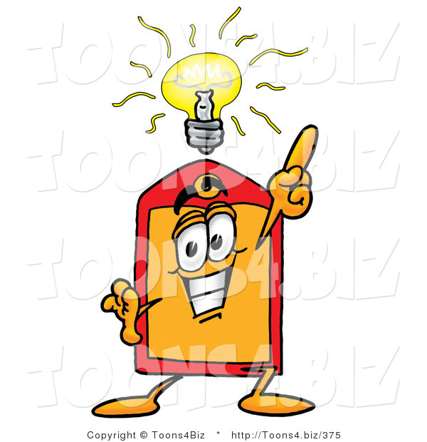 Illustration of a Cartoon Price Tag Mascot with a Bright Idea