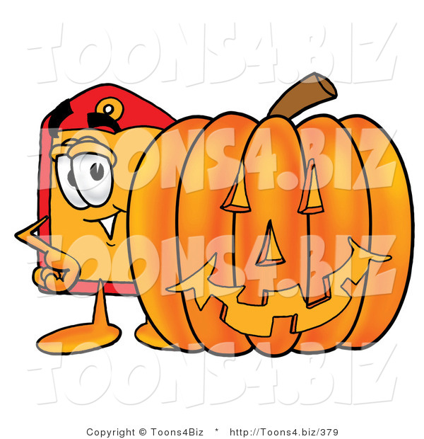 Illustration of a Cartoon Price Tag Mascot with a Carved Halloween Pumpkin