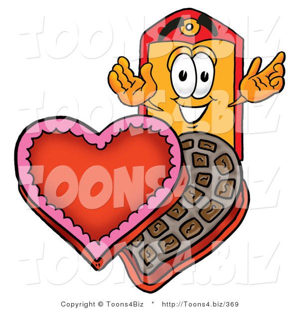 Illustration of a Cartoon Price Tag Mascot with an Open Box of Valentines Day Chocolate Candies