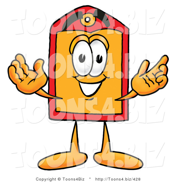 Illustration of a Cartoon Price Tag Mascot with Welcoming Open Arms