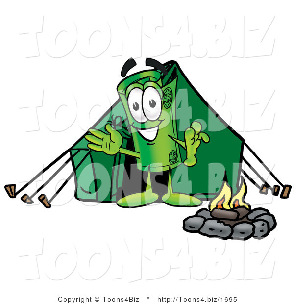 Illustration of a Cartoon Rolled Money Mascot Camping with a Tent and Fire