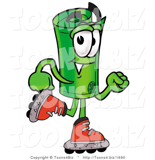 Illustration of a Cartoon Rolled Money Mascot Roller Blading on Inline Skates