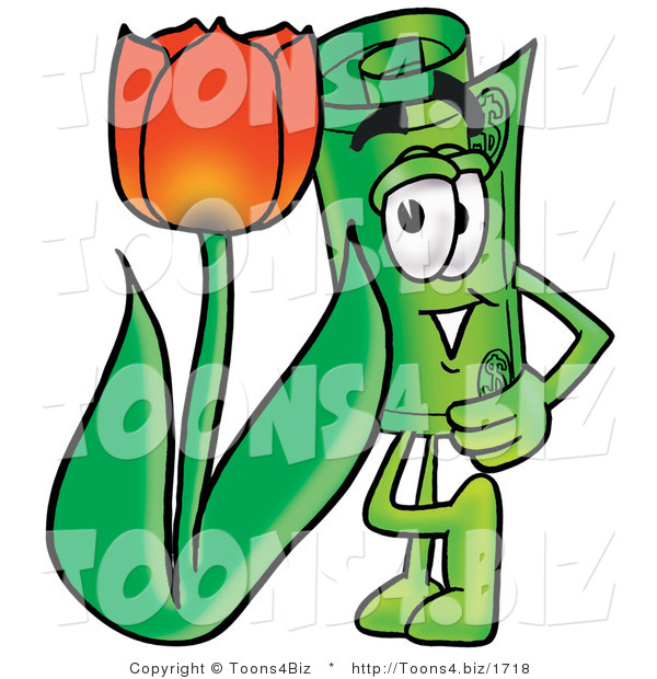 Illustration of a Cartoon Rolled Money Mascot with a Red Tulip Flower in the Spring