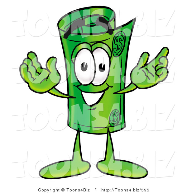 Illustration of a Cartoon Rolled Money Mascot with Welcoming Open Arms