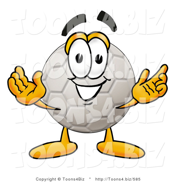 Illustration of a Cartoon Soccer Ball Mascot with Welcoming Open Arms