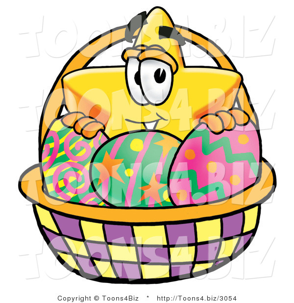 in an easter basket full of decorated easter eggs 25661