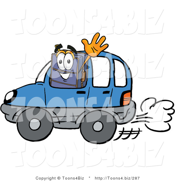 Illustration of a Cartoon Suitcase Mascot Driving a Blue Car and Waving