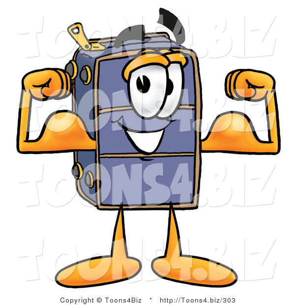 Illustration of a Cartoon Suitcase Mascot Flexing His Arm Muscles