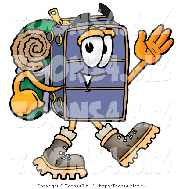 Illustration of a Cartoon Suitcase Mascot Hiking and Carrying a Backpack