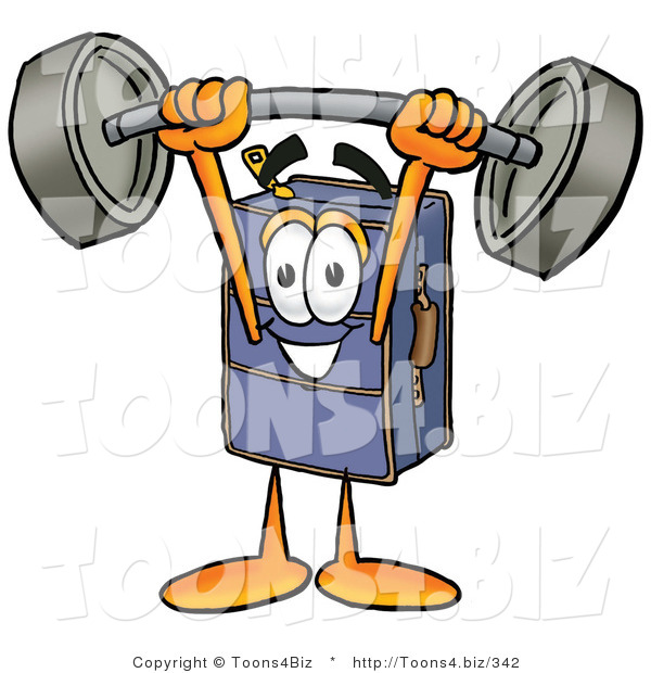 Illustration of a Cartoon Suitcase Mascot Holding a Heavy Barbell Above His Head