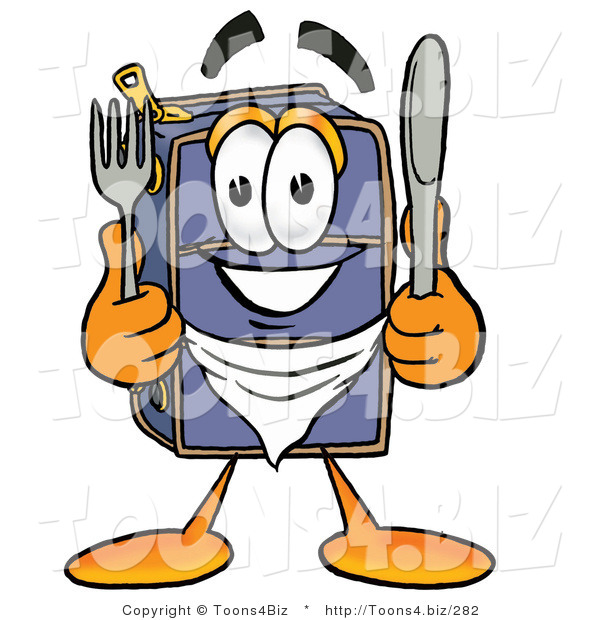 Illustration of a Cartoon Suitcase Mascot Holding a Knife and Fork