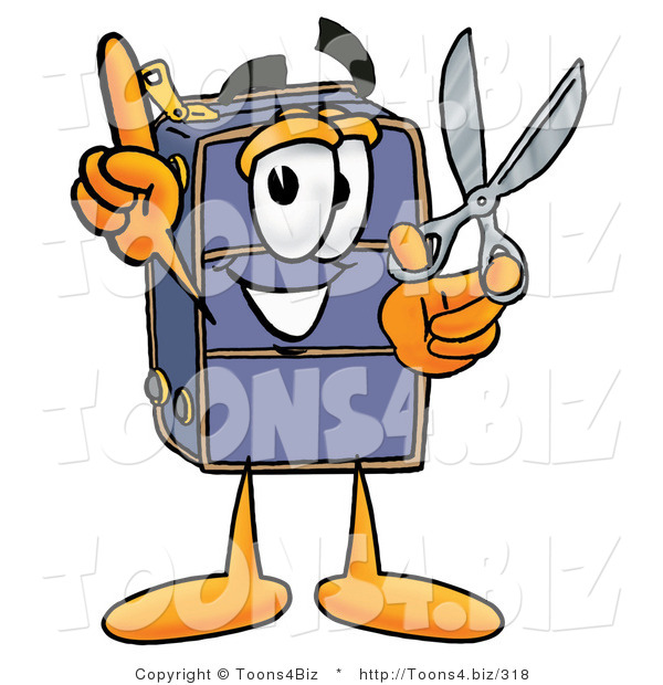 Illustration of a Cartoon Suitcase Mascot Holding a Pair of Scissors