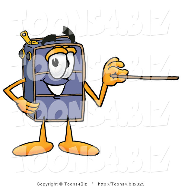 Illustration of a Cartoon Suitcase Mascot Holding a Pointer Stick