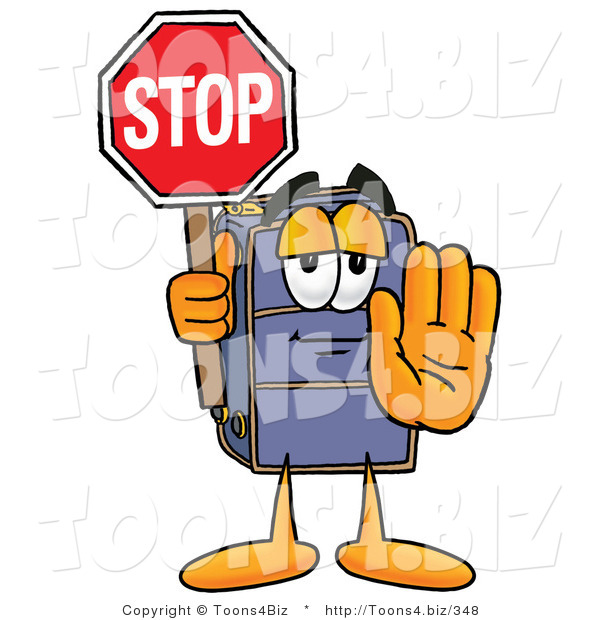 Illustration of a Cartoon Suitcase Mascot Holding a Stop Sign