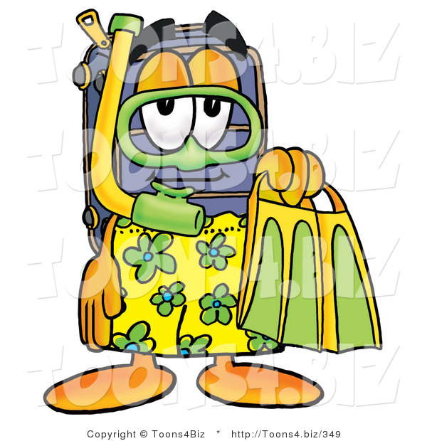 Illustration of a Cartoon Suitcase Mascot in Green and Yellow Snorkel Gear
