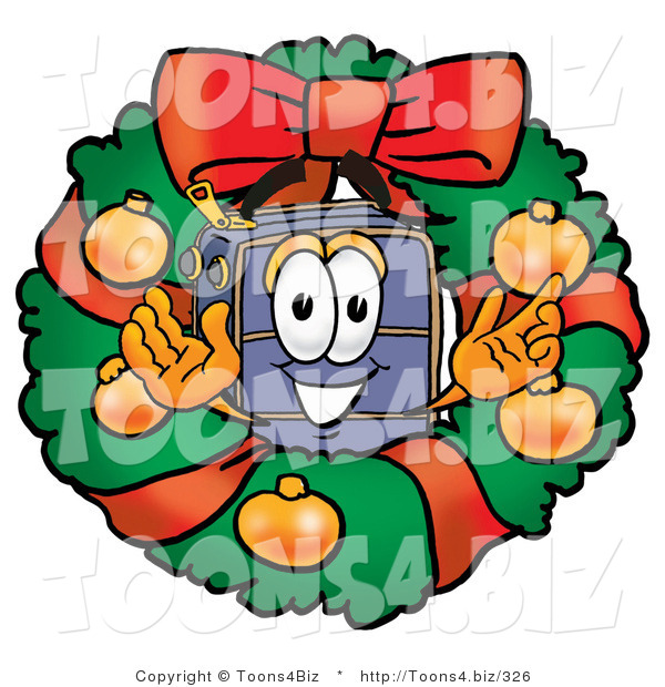 Illustration of a Cartoon Suitcase Mascot in the Center of a Christmas Wreath