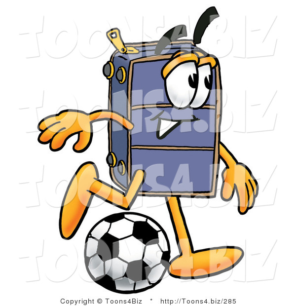 Illustration of a Cartoon Suitcase Mascot Kicking a Soccer Ball