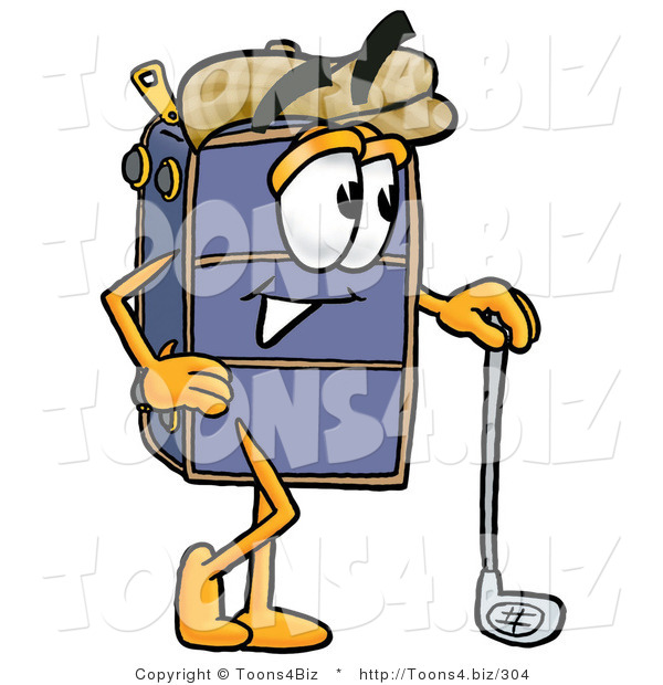 Illustration of a Cartoon Suitcase Mascot Leaning on a Golf Club While Golfing