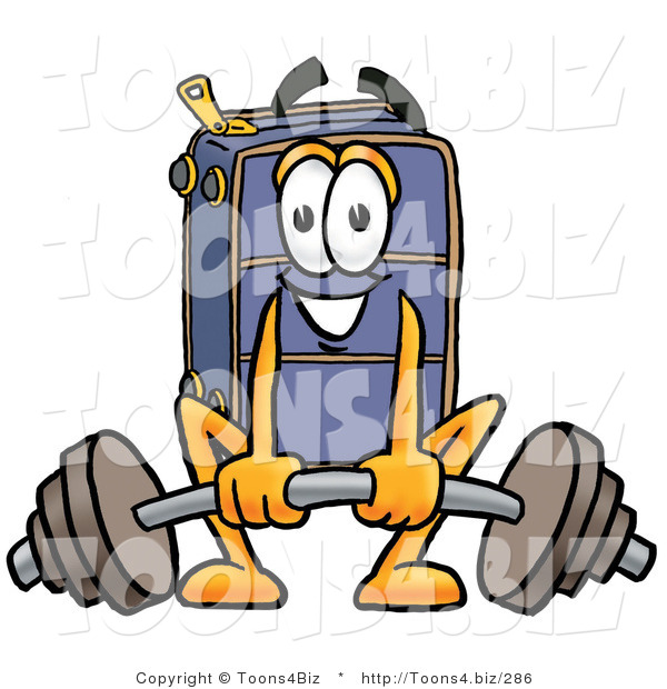 Illustration of a Cartoon Suitcase Mascot Lifting a Heavy Barbell