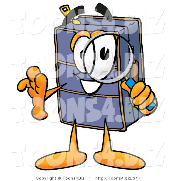 Illustration of a Cartoon Suitcase Mascot Looking Through a Magnifying Glass