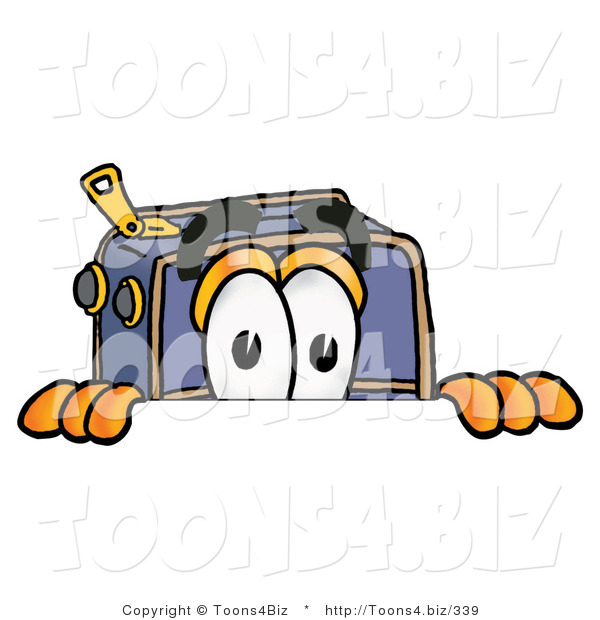 Illustration of a Cartoon Suitcase Mascot Peeking over a Surface