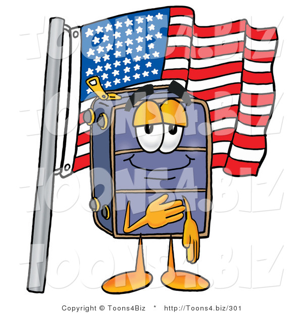Illustration of a Cartoon Suitcase Mascot Pledging Allegiance to an American Flag