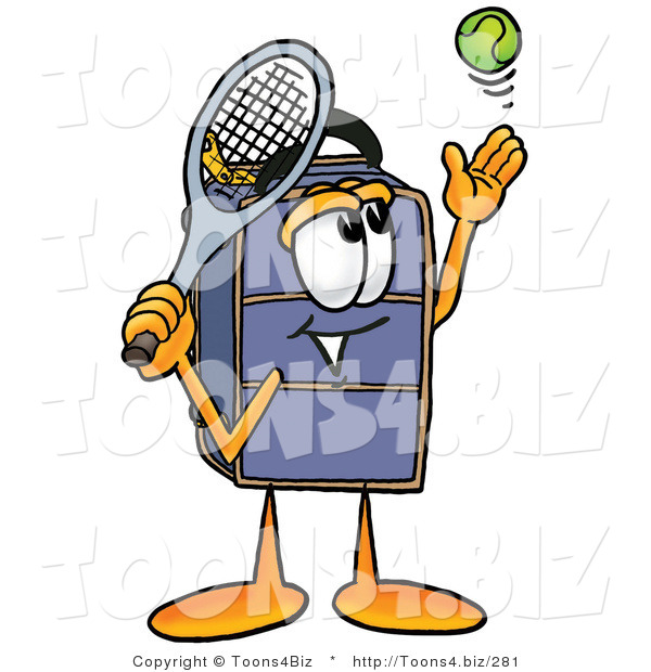Illustration of a Cartoon Suitcase Mascot Preparing to Hit a Tennis Ball