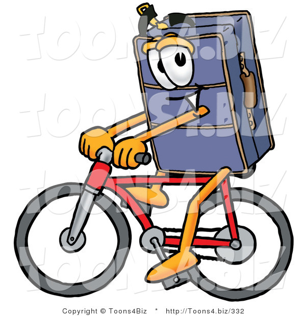 Illustration of a Cartoon Suitcase Mascot Riding a Bicycle