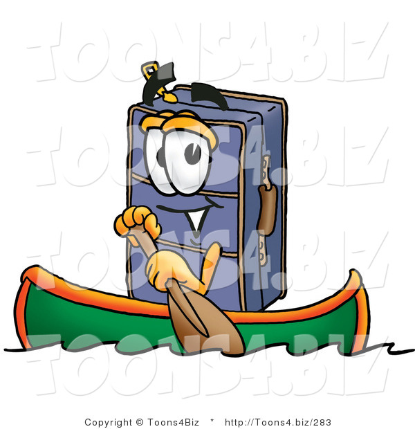 Illustration of a Cartoon Suitcase Mascot Rowing a Boat
