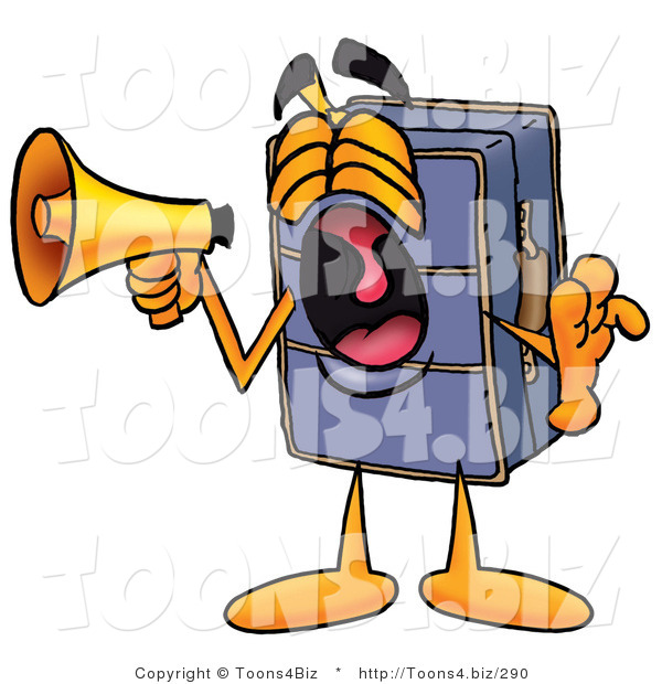 Illustration of a Cartoon Suitcase Mascot Screaming into a Megaphone