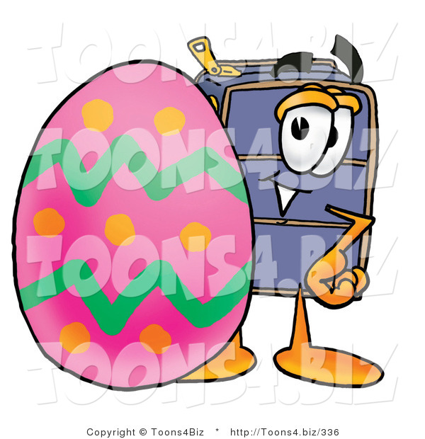 Illustration of a Cartoon Suitcase Mascot Standing Beside an Easter Egg