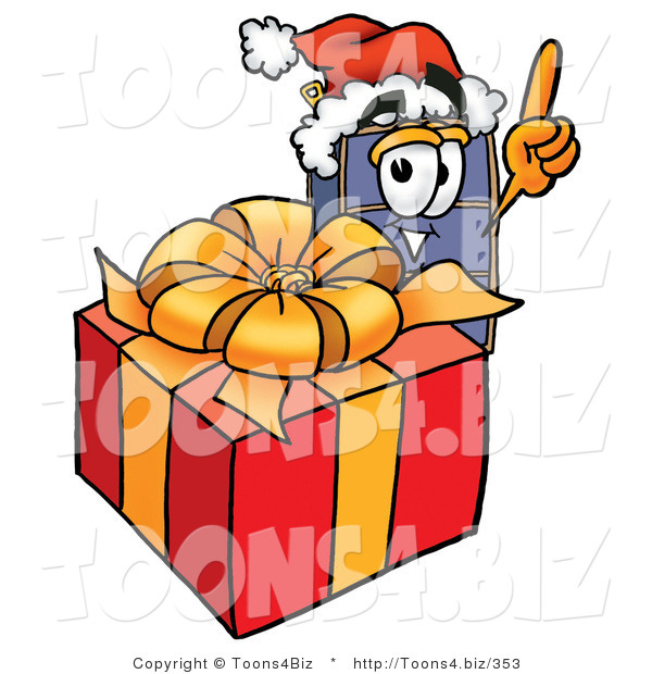 Illustration of a Cartoon Suitcase Mascot Standing by a Christmas Present