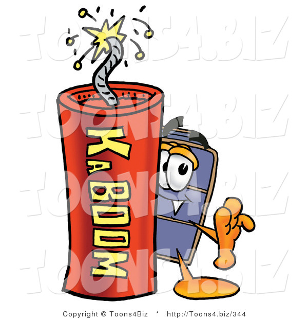 Illustration of a Cartoon Suitcase Mascot Standing with a Lit Stick of Dynamite